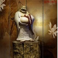持珠弥勒佛像陶瓷艺术玻璃