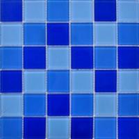 海景别墅泳池马赛克 水晶玻璃马赛克 露天泳池马赛克蓝色