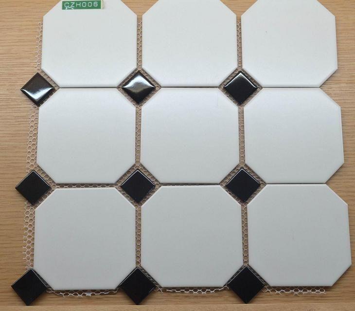 海南五星酒店用 八角形马赛克背景墙砖厂家  地面防滑砖黑白