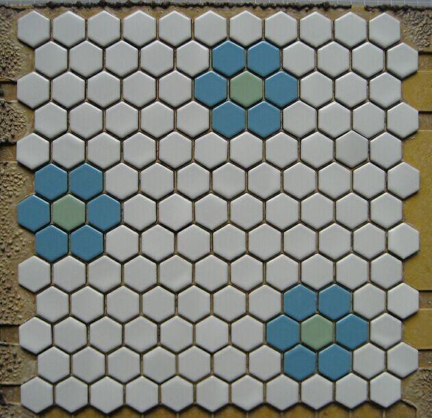 六角形马赛克 六角砖 蛋糕店背景墙砖 地面砖蓝梅花