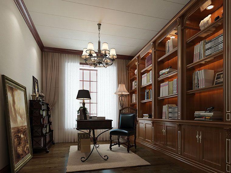 恒信福美式风格书房竹木纤维集成墙面