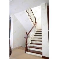 品家楼梯 别墅美式楼梯_楼梯品质_实用性楼梯_咖啡色楼梯颜色