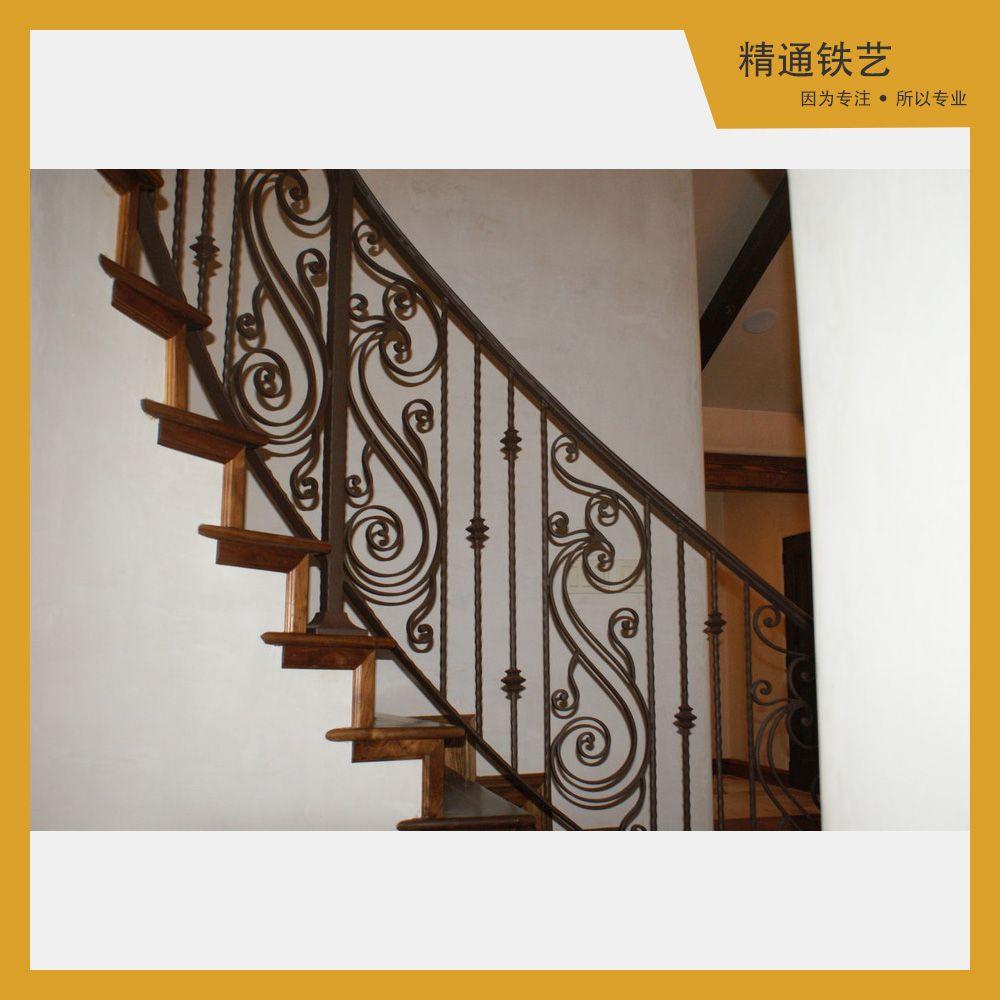 宁波厂家定做 室内外铁艺楼梯扶手栏杆 欧式实木旋转楼梯