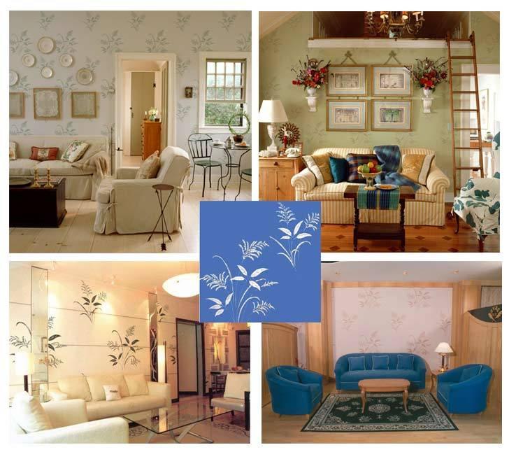天蓝色壁纸配欧式沙发