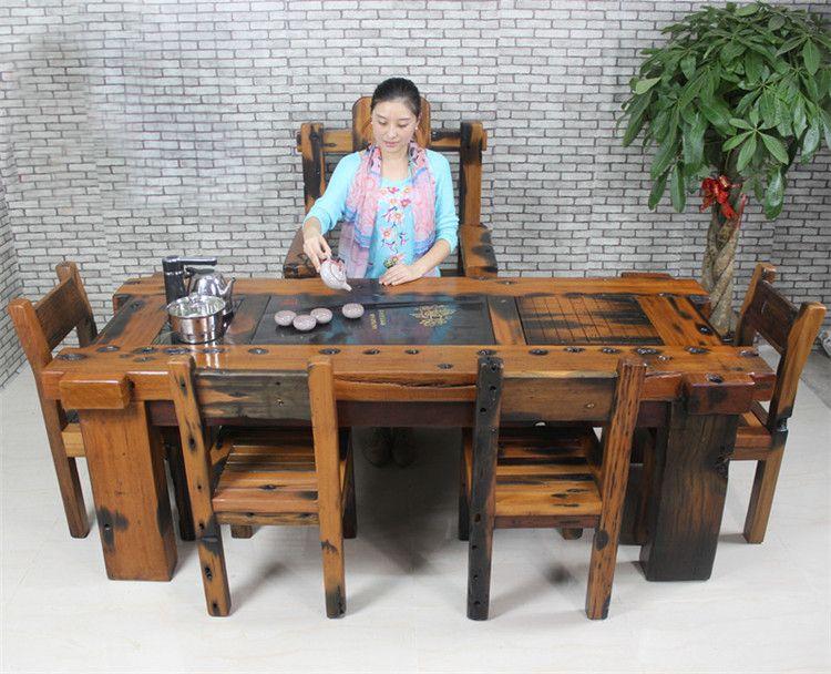 家具市场 老船木茶桌专卖店 功夫茶几