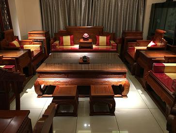 卷书沙发-缅甸花梨木大果紫檀