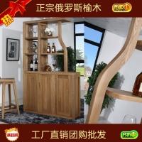 上海苏州家具工厂直销俄罗斯榆木实木玄关隔断简约合和木缘