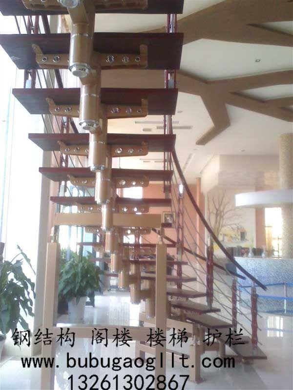 钢木楼梯家用楼梯 - 步步高钢结构阁楼楼梯 - 九正网