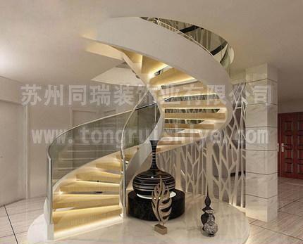 同瑞供应全玻璃楼梯 旋转玻璃楼梯