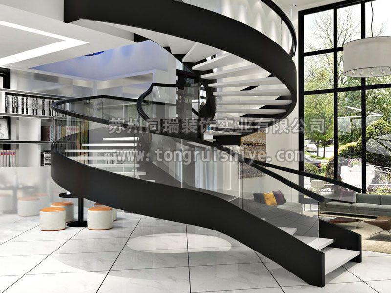 钢结构旋转楼梯 镂空式踏步
