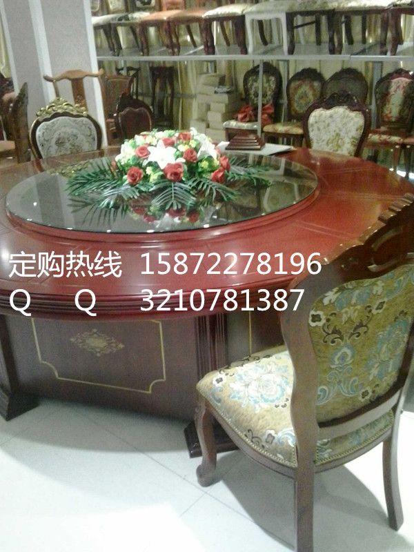 豪华实木电动餐桌款式 酒店大圆桌规格大全