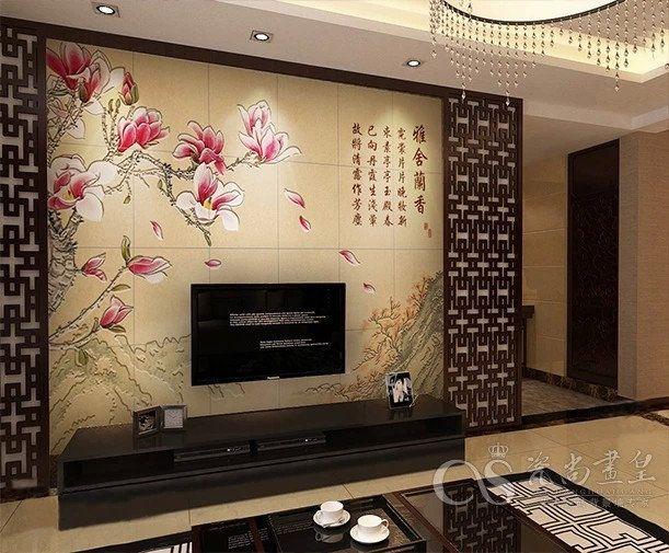 瓷砖背景墙 电视 艺术瓷砖 瓷砖陶瓷雕刻山水小鹿 背景墙画 陶瓷艺术