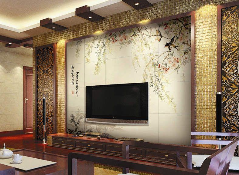 【瓷尚】电视背景墙瓷砖画 欧式电视背景墙 江南春柳
