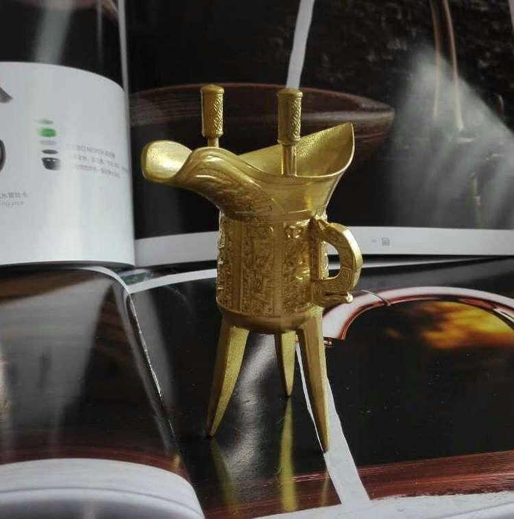 古代铜酒杯 仿古乾隆杯 三脚酒杯 铜制工艺品 黄铜摆件礼品批