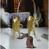 三脚酒杯 铜工艺品 古代酒杯 仿古乾隆酒杯 秦始皇三角酒杯