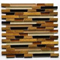 欧式电视背景墙金丝楠木质玻璃马赛克