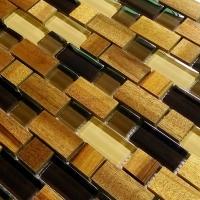 背景墙马赛克金丝楠木质水晶玻璃马赛克