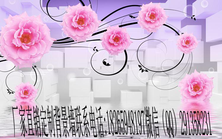 墙5D背景墙花开富贵玄关一帆风顺大展宏图山
