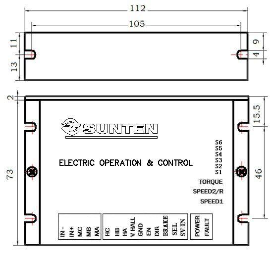 12V、24V、36V、48V;2A;0-5V/10V;正反转;直流无刷调速器 一、性能特点 20KHzPWM脉宽调制。 宽电压输入范围。 适合1-8对极直流无刷电机,最高速度达25000RPM。 三种工作模式:速度模式、力矩模式、开环模式。 外部速度控制/内部速度控制选择。 速度增益功能。 使能/方向/刹车控制功能。 软启动时间设定功能。 电流设置功能。 过电流、堵转、霍尔异常等保护功能。 采用SMT技术、体积小 。 二、电气参数