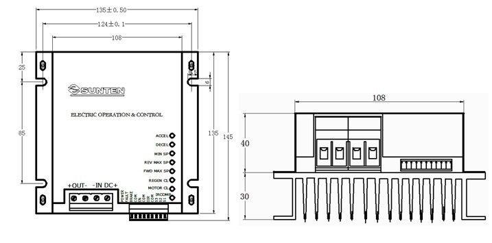 12V,24V,36V,48V;50A; 0-5V/10V,PWM;四象限可逆;再生制动,能量回收功能 一、性能特点 四象限可逆模式、再生制动功能 PWM脉宽调制 无触点换向,可频繁正反转 低速启动/运转力矩大,具有力矩补偿功能 调速比80:1,双闭环PI调节(电流、电压) 两种速度信号选择输入:模拟信号和PWM信号 正/反向转速可分别设置 启动/停止时间可分别设置 输出电流/制动电流可分别设置 短路/过流/过压/欠压/过热降低功率等保护功能 适用驱动力矩电机、空心杯电机、永磁电机、印刷电机 采用SMT技