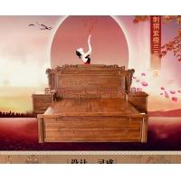 熙源红木家具 刺猬紫檀豪华兰亭序大实木床 100%非洲花梨木