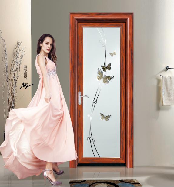 铝合金红酸枝卫生间门 平开钢化玻璃浴室门