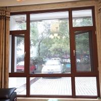 佳龙宏-新款木纹色外开窗带金刚纱窗扇内开