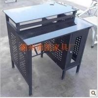 加长款双层网吧电脑桌,黑色经典款电脑桌钢化玻璃面带主机托