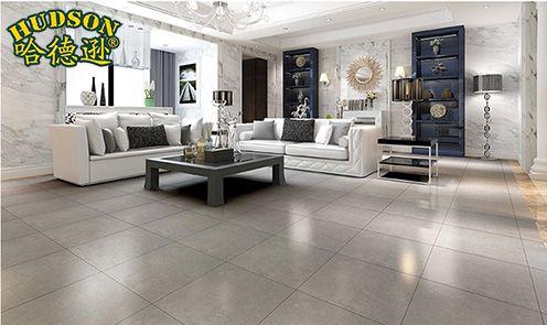 哈德逊客厅灰色瓷砖 深色地板砖