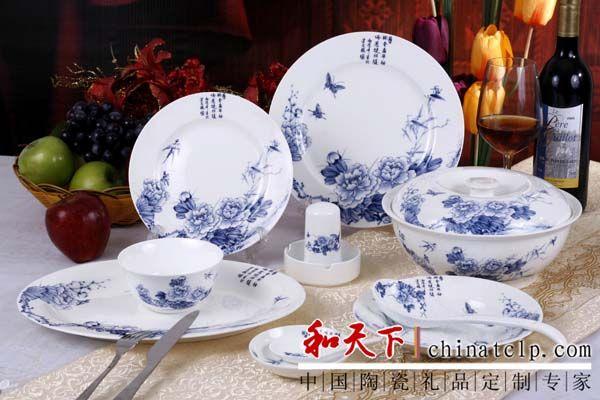 手绘青花瓷餐具 手绘60头手指牡丹餐具