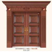 58号金沙古韵双开大门 丁级-红铜 平门头+立柱 大前门道