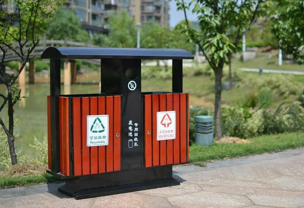 钢木垃圾桶 不锈钢垃圾桶 杭州垃圾桶 公园垃圾桶