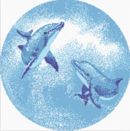 圆形水池游泳池戏水海豚玻璃马赛克拼图