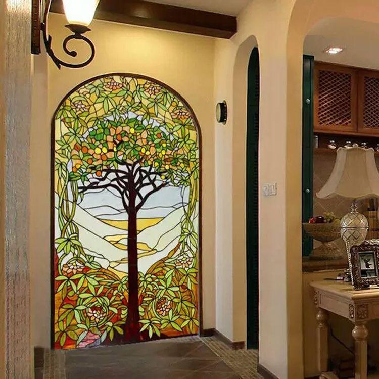 定制生产欧式别墅酒店彩色玻璃背景墙 客厅玄关隔断