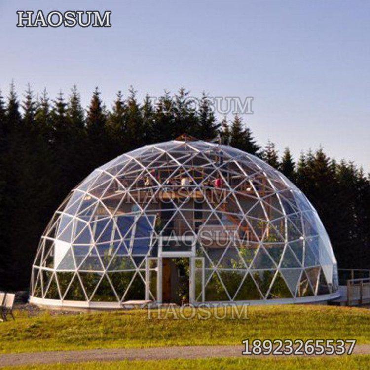 定制加工钢结构钢化玻璃屋 旅游区酒店半圆形玻璃方抗寒抗压性强