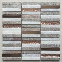 长条石材马赛克 CHC034 自然面石材+玻璃+不锈钢
