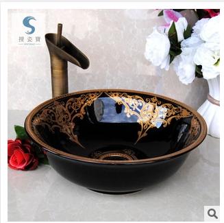 景德镇陶瓷艺术台盆 黑金釉面面盆 酒店宾馆台盆