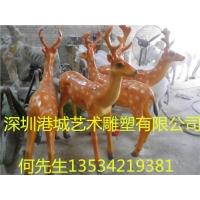 公园防真动物玻璃钢梅花鹿雕塑