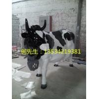 防真玻璃钢动物奶牛雕塑 玻璃钢园林雕塑制品