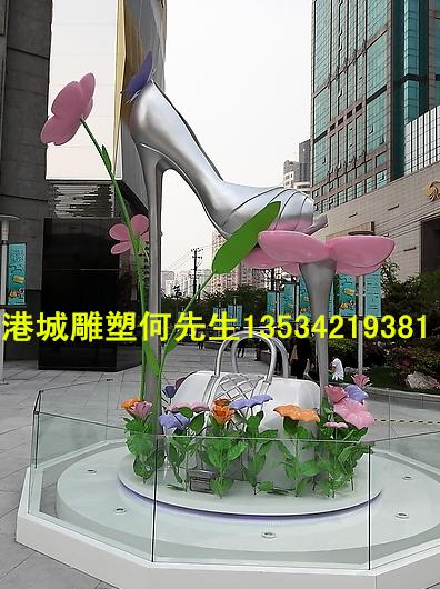 大型玻璃钢高跟鞋雕塑道具 商场美陈装饰鞋子模型