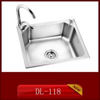 供应304材质整体拉伸一次成形家用厨房不锈钢水槽DL-118