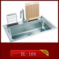 供应304材质整体拉伸一次成形家用厨房不锈钢水槽DL-104