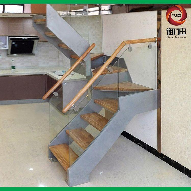 复式楼钢板插槽楼梯 室内钢木结构楼梯