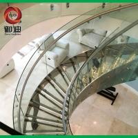 高档会所大堂弧形钢板楼梯 大型酒店玻璃卷板楼梯