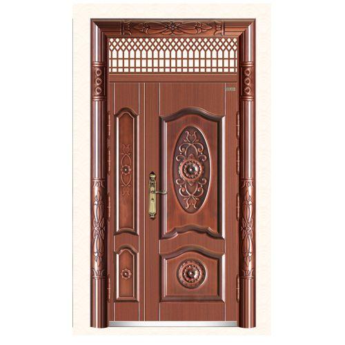 110号新欧宝子母门 丁级防盗门 红铜色带户窗