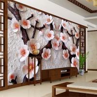 上海无缝墙布 墙纸 千彩壁画 3D玉雕梅花