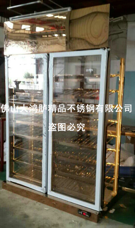 酒店豪华不锈钢玫瑰金酒柜