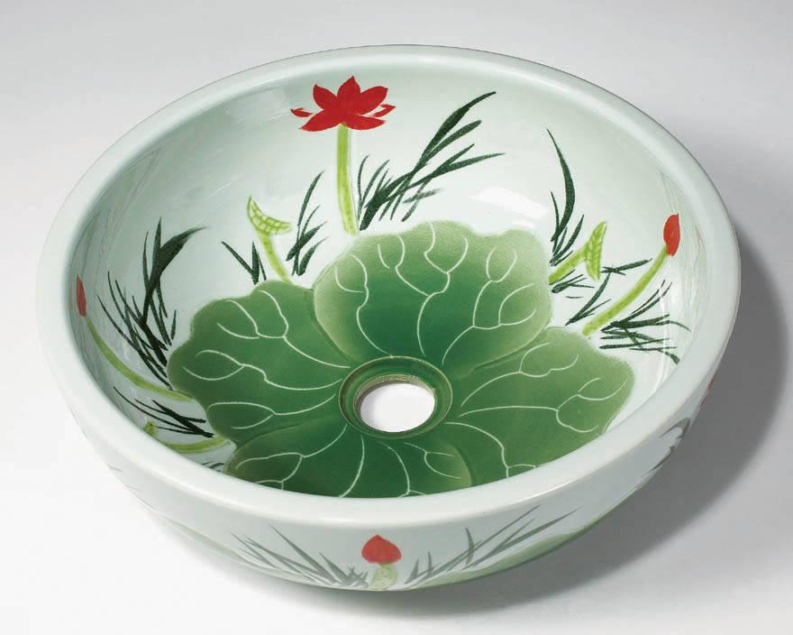 陶瓷洗脸盆手绘图案