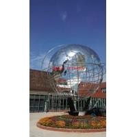 企业不锈钢地球仪雕塑 白钢管状地球仪 企业雕塑