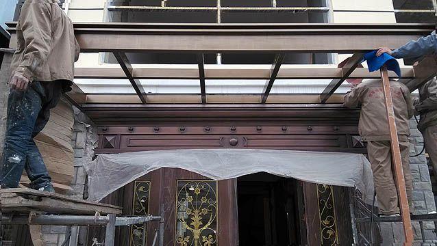 上海高档欧式雨蓬铁艺铜艺钢结构定制门头雨蓬